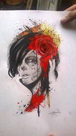 catrinas diseños bocetos tatuajes 6 • 2020 » 50 Diseños de Catrinas y Bocetos de Tatuajes de Calaveras Mexicanas 15