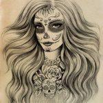 catrinas diseños bocetos tatuajes 7 » 50 Diseños de Catrinas y Bocetos de Tatuajes de Calaveras Mexicanas 17