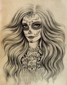 catrinas diseños bocetos tatuajes 7 • 2020 » 50 Diseños de Catrinas y Bocetos de Tatuajes de Calaveras Mexicanas 16