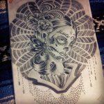 catrinas diseños bocetos tatuajes 8 » 50 Diseños de Catrinas y Bocetos de Tatuajes de Calaveras Mexicanas 18