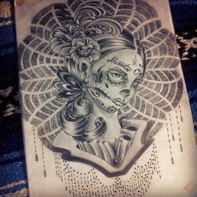 catrinas diseños bocetos tatuajes 8 • 2020 » 50 Diseños de Catrinas y Bocetos de Tatuajes de Calaveras Mexicanas 17