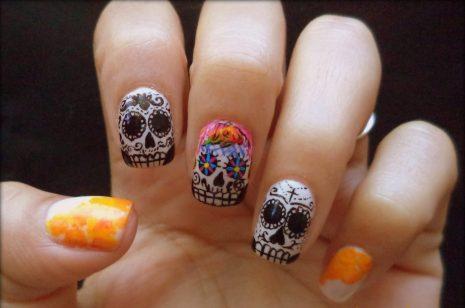 uñas decoradas catrinas 5 e1472749990302 • 2020 » Uñas decoradas de Halloween, Catrinas y Calaveras Mexicanas 12
