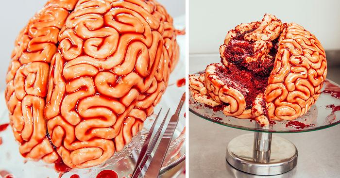 pastel de cerebro para Halloween 6 • 2020 » ¿Cómo hacer el pastel más original de Halloween? 1