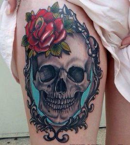 tatuajes calaveras con rosas 2 » skull leg tattoos 3