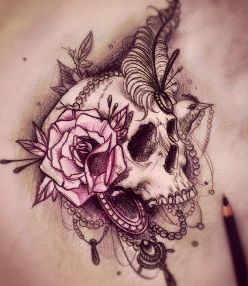 tatuajes calaveras con rosas 5 » 30 Tatuajes de Calaveras para inspirarte 6