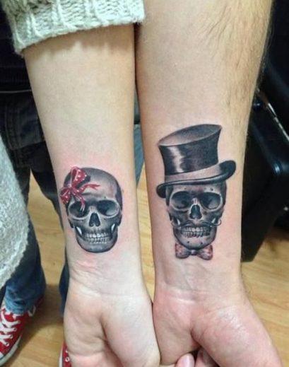 tatuajes calaveras parejas 5 e1498429106348 • 2020 » 30 Tatuajes de Calaveras para inspirarte 21