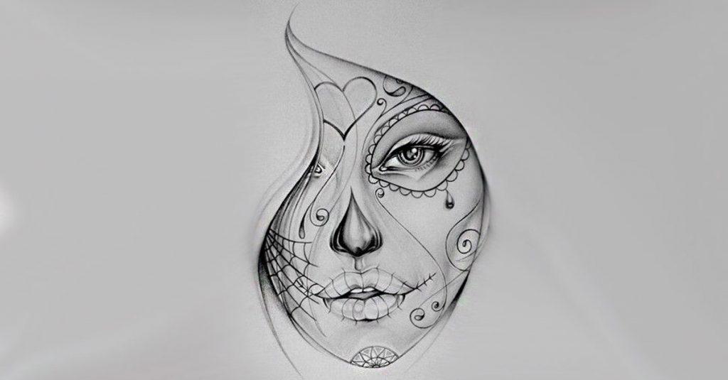 portada diseños catrinas » 50 Diseños de Catrinas y Bocetos de Tatuajes de Calaveras Mexicanas 1