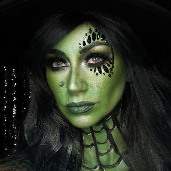 maquillaje de bruja verde 4 1 » Maquillajes de Brujas para Halloween 24